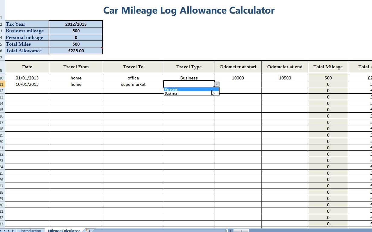 Free Mileage Log Template For Taxes | Homebiz4U2Profit with Mileage Spreadsheet Free