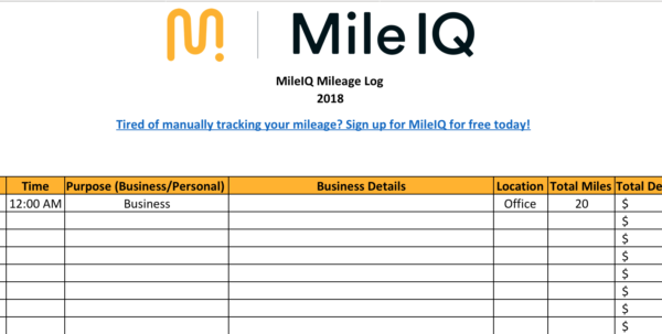 Free Mileage Log Template For Taxes, Track Business Miles | Mileiq Uk Intended For Mileage Spreadsheet Free