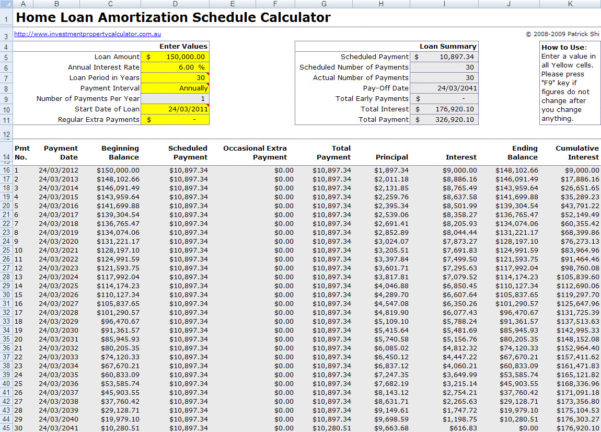 Free Mortgage Home Loan Amortization Calculator And Home Loan Spreadsheet