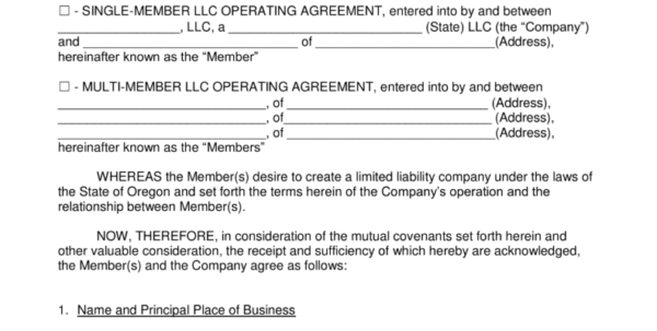 Free Oregon Llc Operating Agreement Forms   Pdf | Word | Eforms Inside Oregon State Business Registry