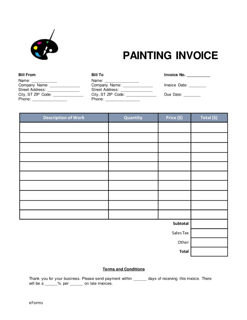 Free Painting Invoice Template Word | Pdf | Eforms – Free Fillable Intended For Job Invoice Template
