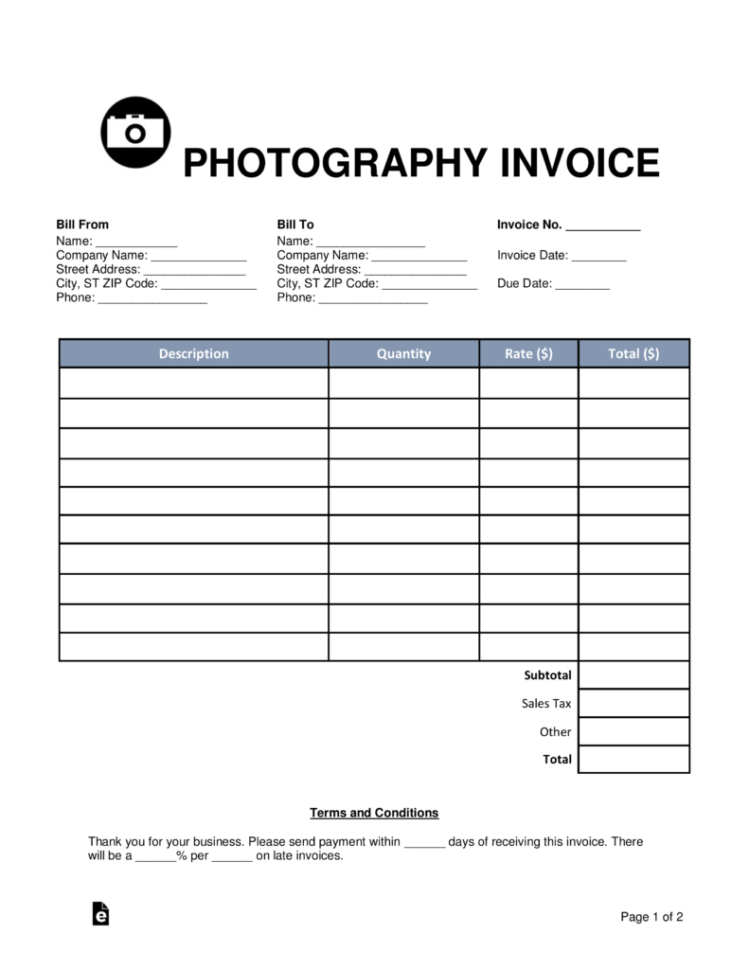 Free Photography Invoice Template   Word | Pdf | Eforms – Free To Photography Invoice Template
