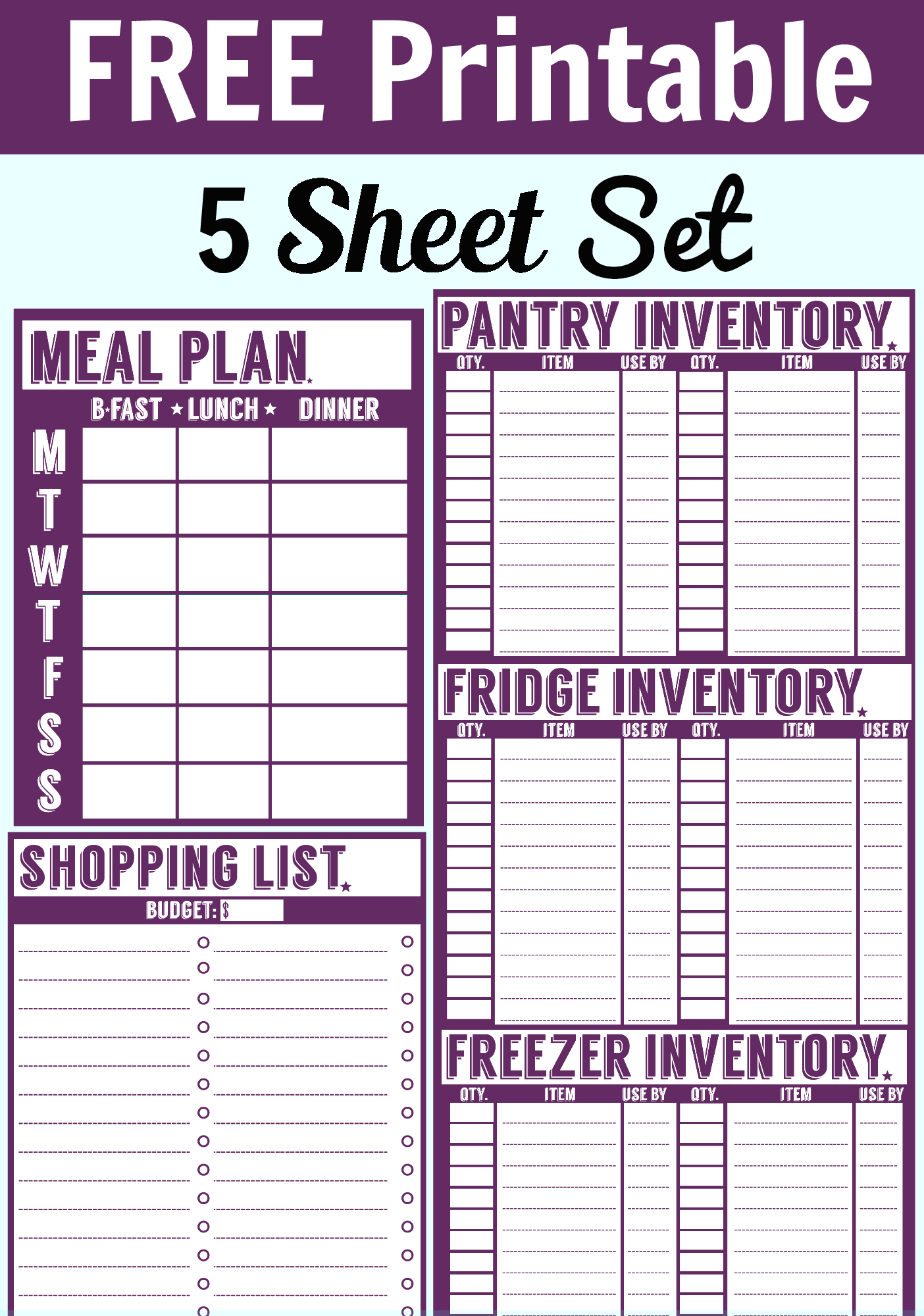 Free Printable Menu Planner, Shopping List & Inventory Sheets Within Printable Inventory Spreadsheet