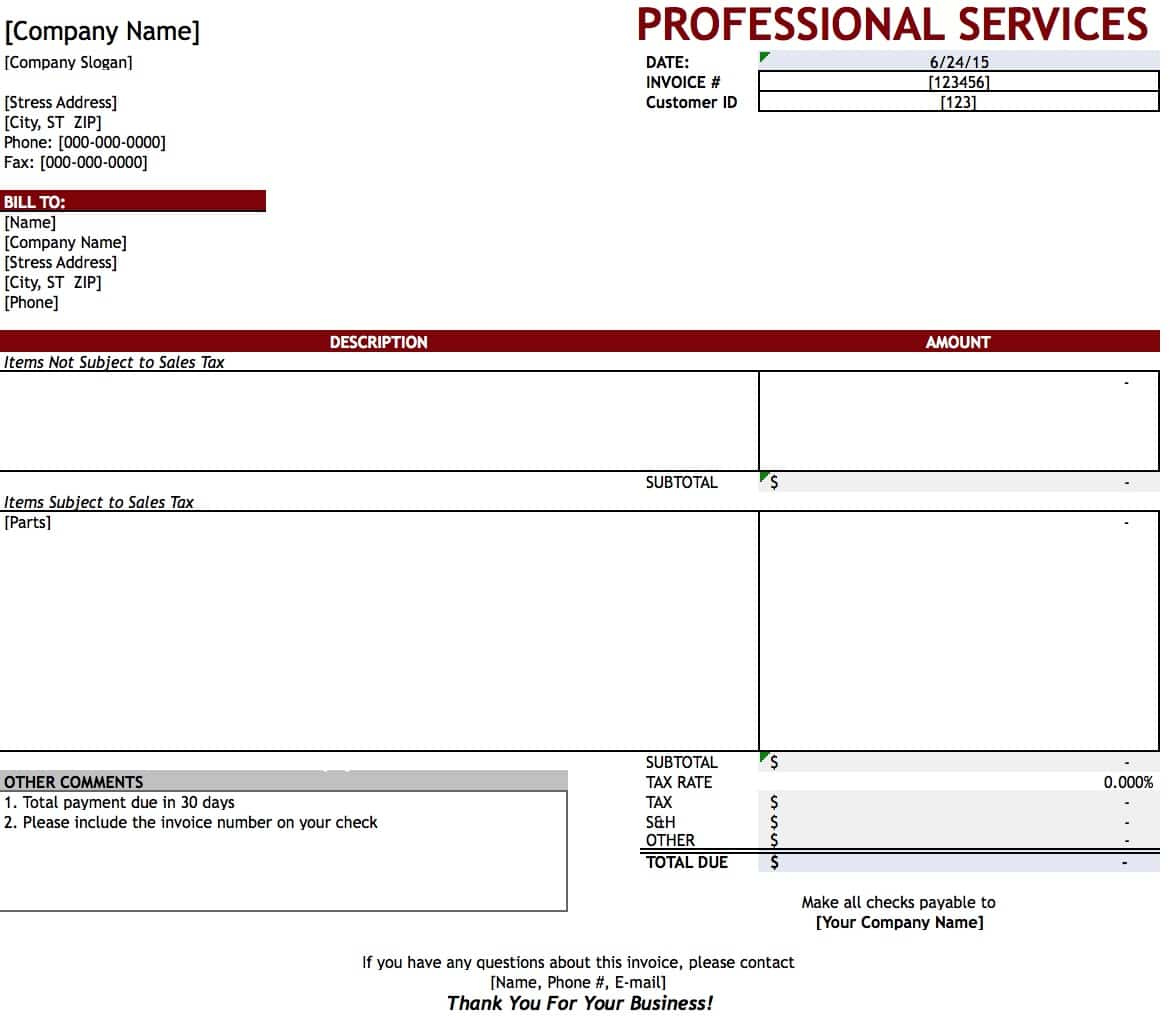 Free Professional Services Invoice Template | Excel | Pdf | Word (.doc) Inside Professional Invoice Template