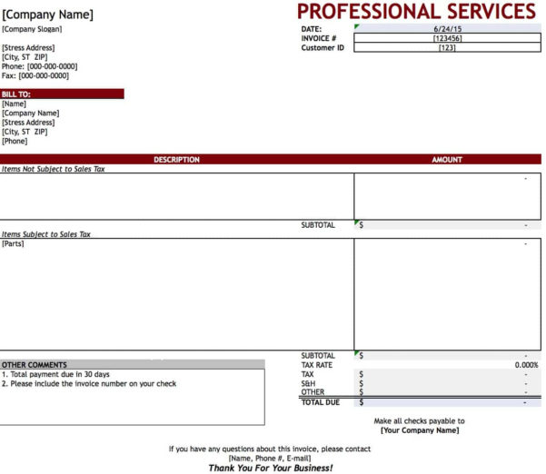 Free Professional Services Invoice Template | Excel | Pdf | Word (.doc) Within Microsoft Excel Invoice Template