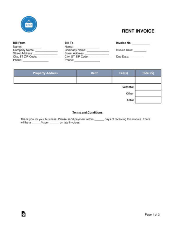 Free Rental (Monthly Rent) Invoice Template   Word | Pdf | Eforms Within Rent Invoice Template