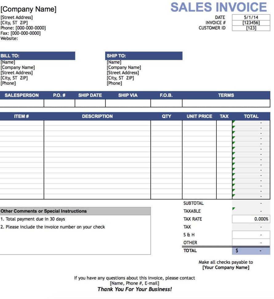 Free Sales Invoice Template | Excel | Pdf | Word (.doc) For Microsoft Excel Invoice Template
