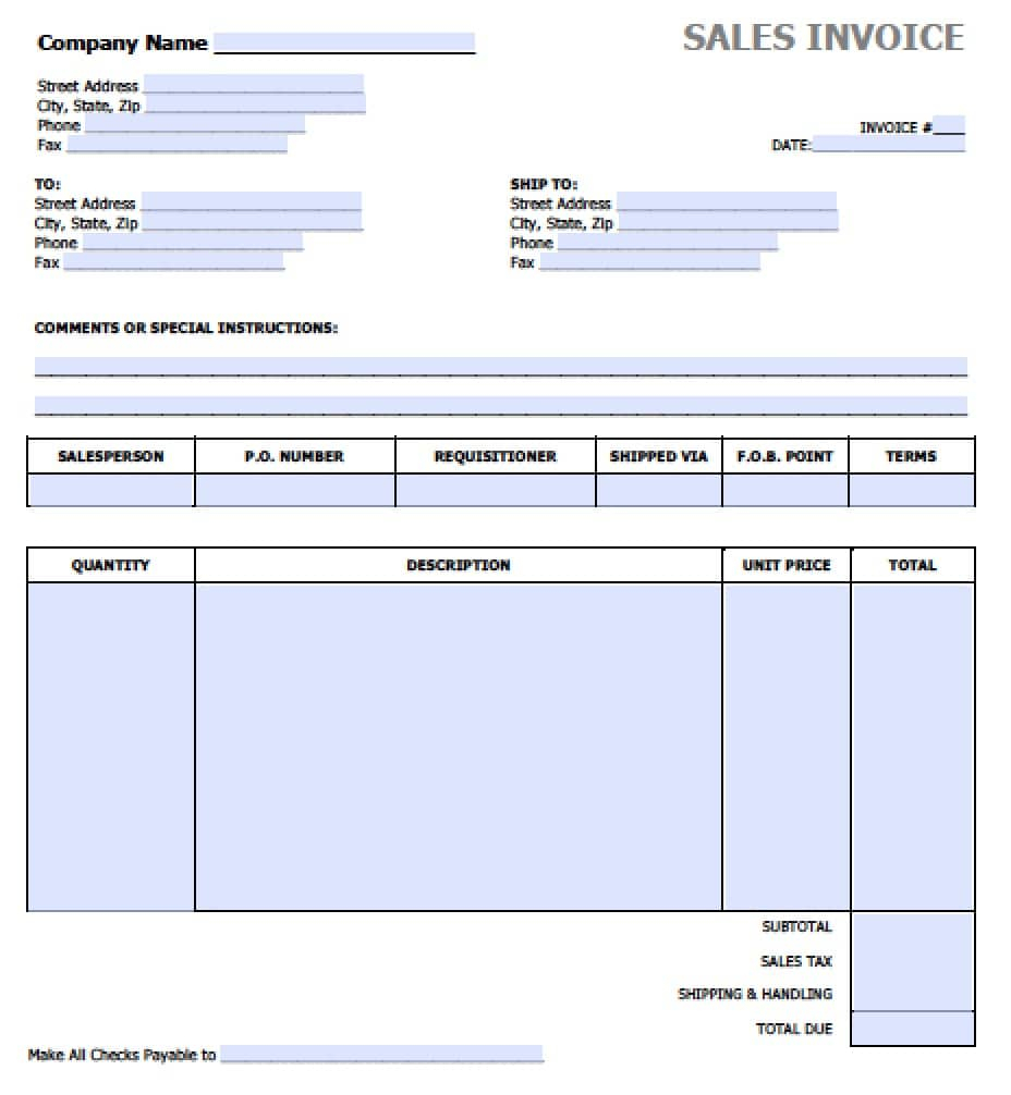 Free Sales Invoice Template | Excel | Pdf | Word (.doc) To Invoice Excel Template