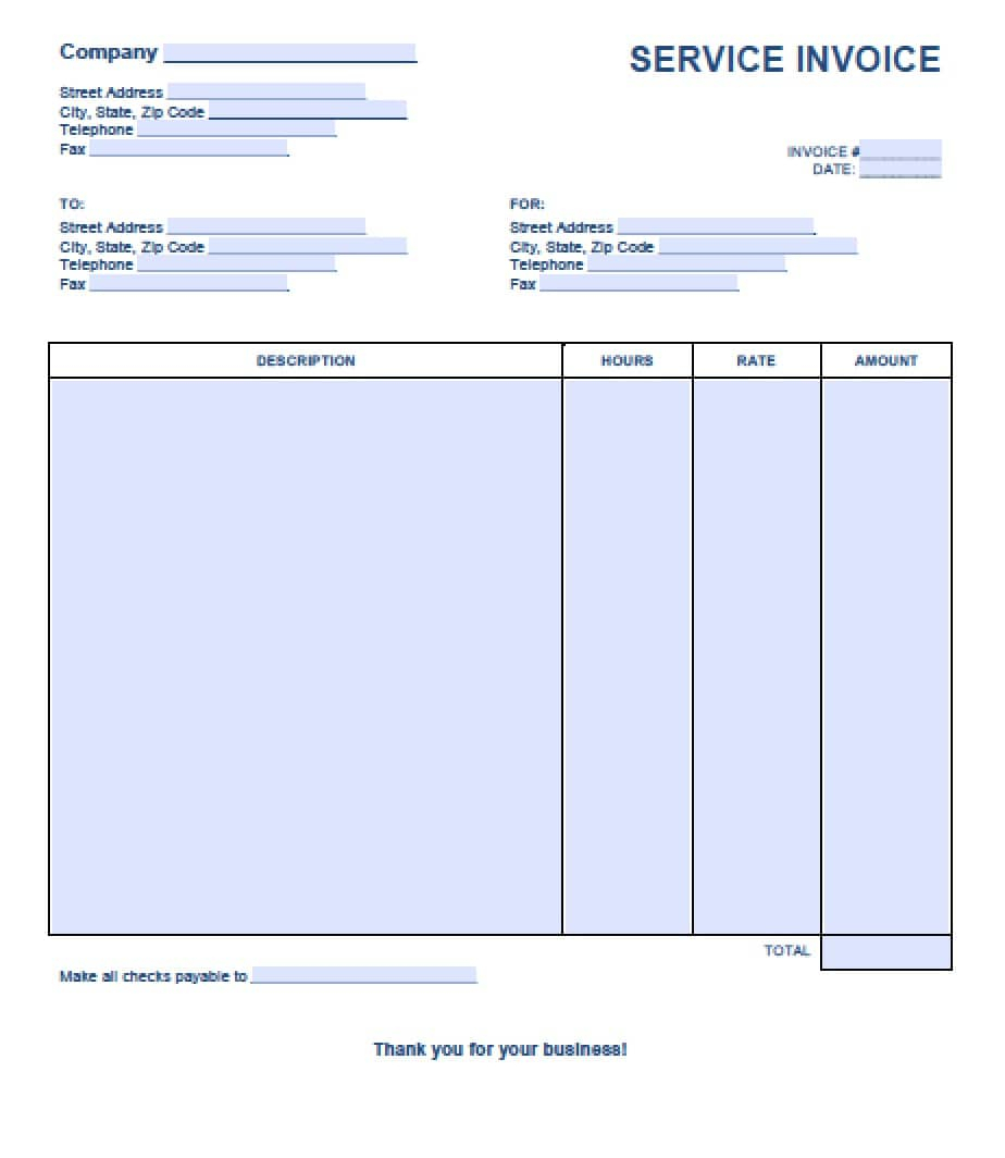 Free Service Invoice Template | Excel | Pdf | Word (.doc) For House Cleaning Service Invoice