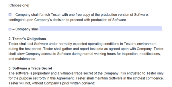 Free Software Beta Tester Non Disclosure Agreement (Nda) | Pdf Throughout Business Contract Software
