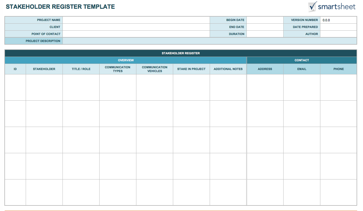 Free Stakeholder Analysis Templates Smartsheet To Businessballs Project Management Templates