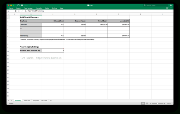 Free Time Off Tracker   Bindle For Employee Paid Time Off Tracking Spreadsheet