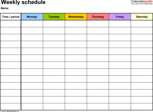 Free Weekly Schedule Templates For Excel   18 Templates With Blank Spreadsheets