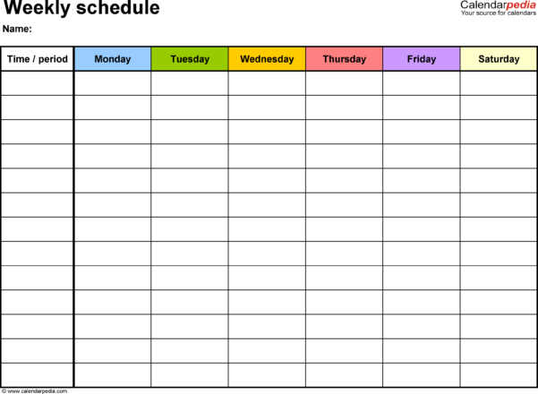 Free Weekly Schedule Templates For Word   18 Templates With Employee Schedule Spreadsheet