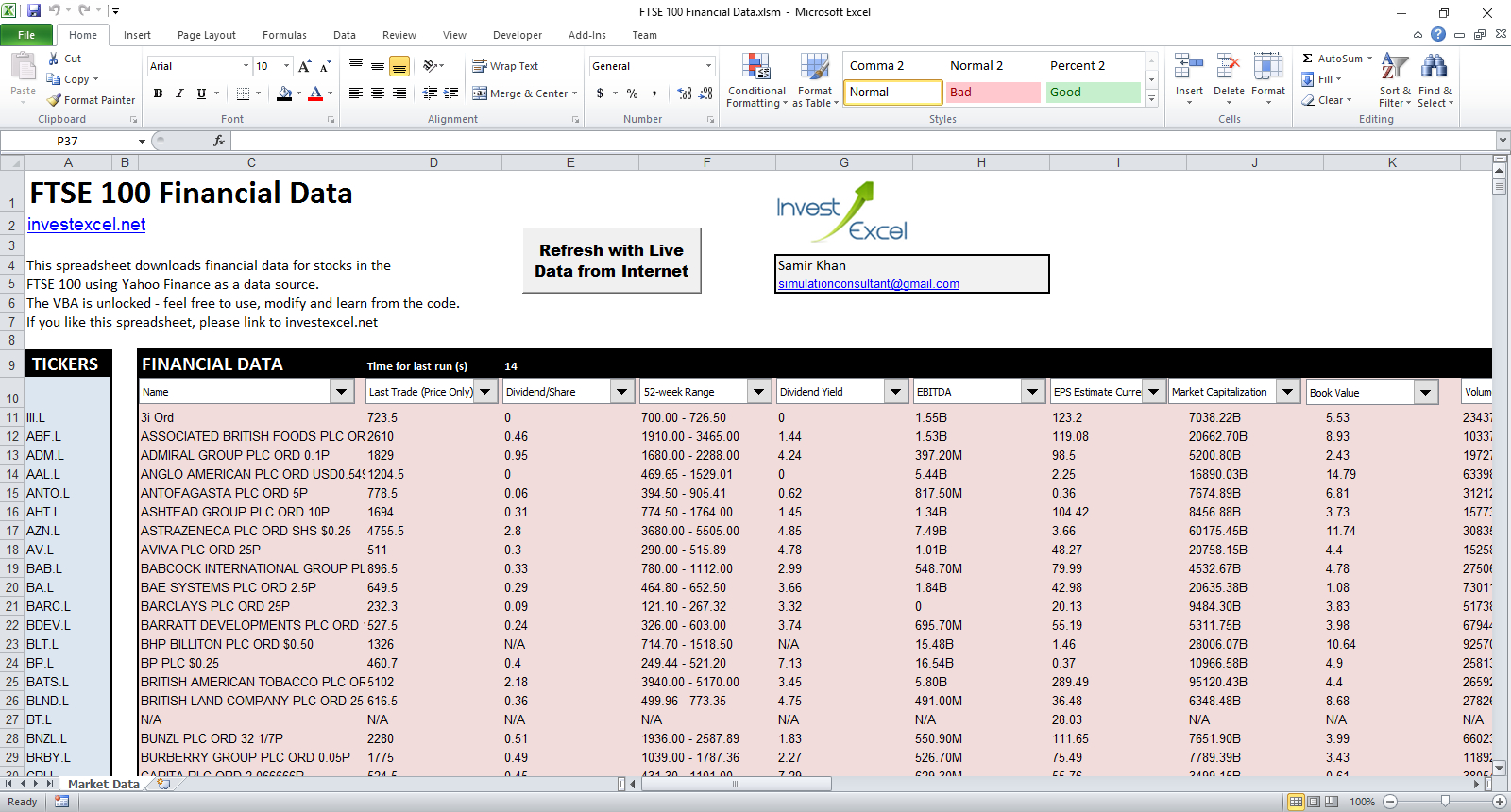 Ftse 100 Companies   Live Data In A Spreadsheet For Download Excel Spreadsheets