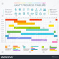Gantt Progress Line Business Plan Project Stockillustration For Project Timeline Plan