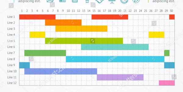 Gantt Progress Line Business Plan Project Stockillustration For Project Timeline Plan