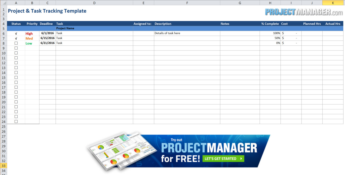 Guide To Excel Project Management   Projectmanager Within Free Excel Task Management Tracking Templates