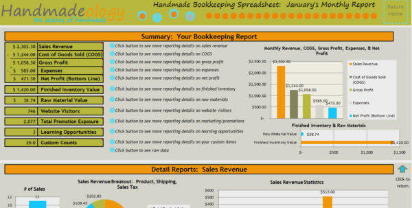 Handmade Bookkeeping Spreadsheet   Just For Handmade Artists For Cost Accounting Spreadsheet Templates