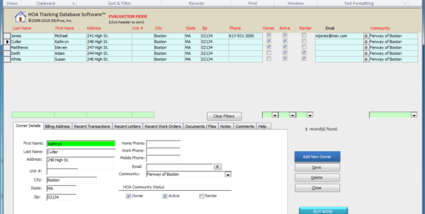 Hoa / Property Management Database Software For Hoas, Property Throughout Spreadsheet Database Software