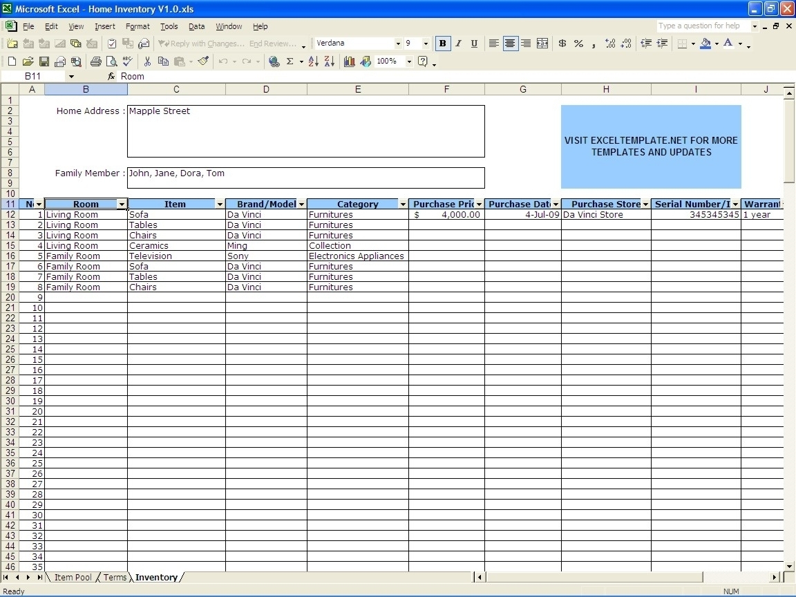 Home Inventory | Excel Templates With Regard To Furniture Throughout To Furniture Inventory Spreadsheet