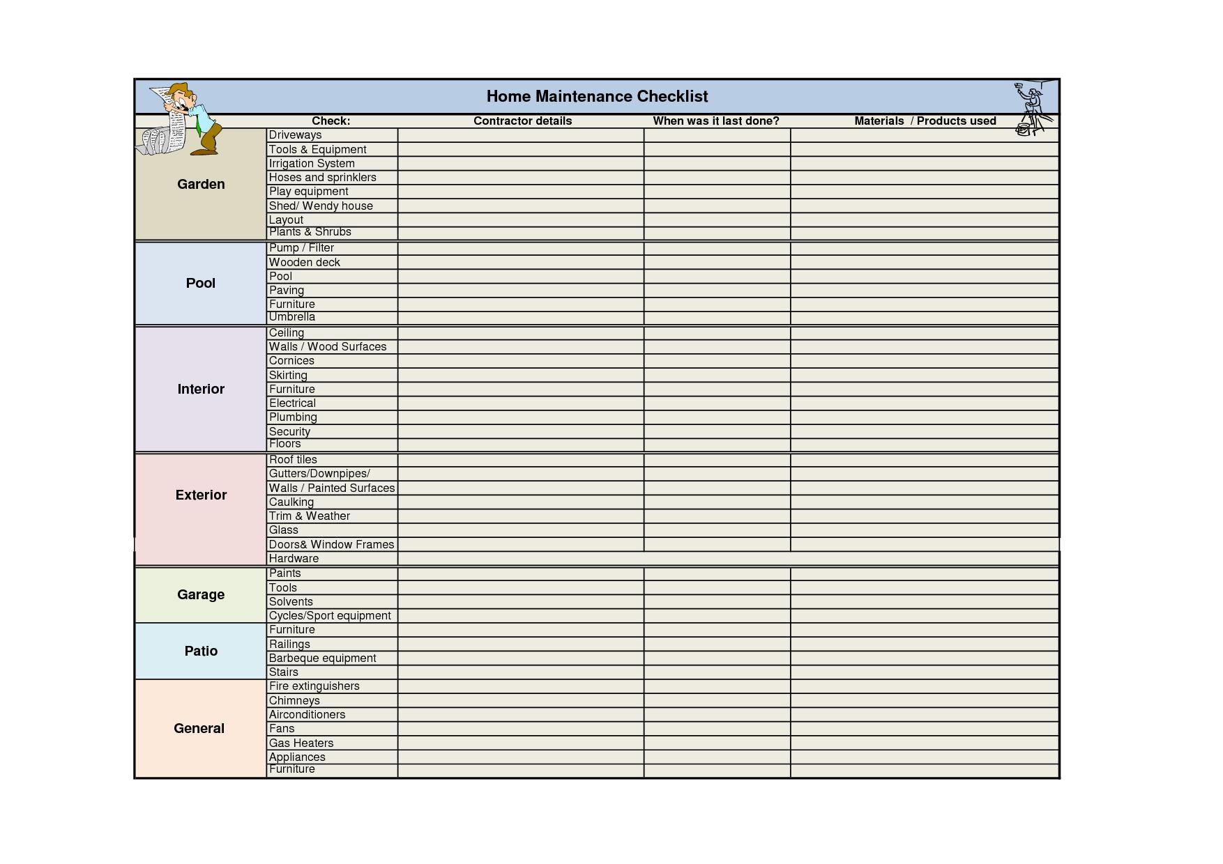 Home Maintenance Schedule Spreadsheet | My Spreadsheet Templates Intended For Home Maintenance Spreadsheet