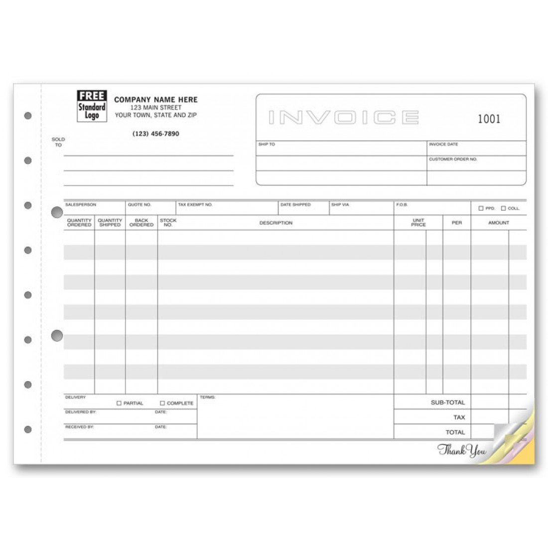 Horizontal Shipping Invoice Forms | Free Shipping With Shipping Invoice Template