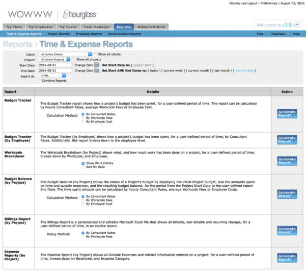 Hourglass | Time & Expense Reporting Software Solutions With Company Expense Report