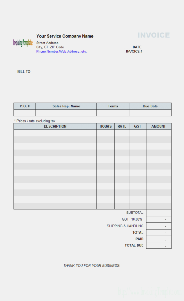 Hourly Service Billing Sample – Free Shipping Invoice Template And Shipping Invoice Template
