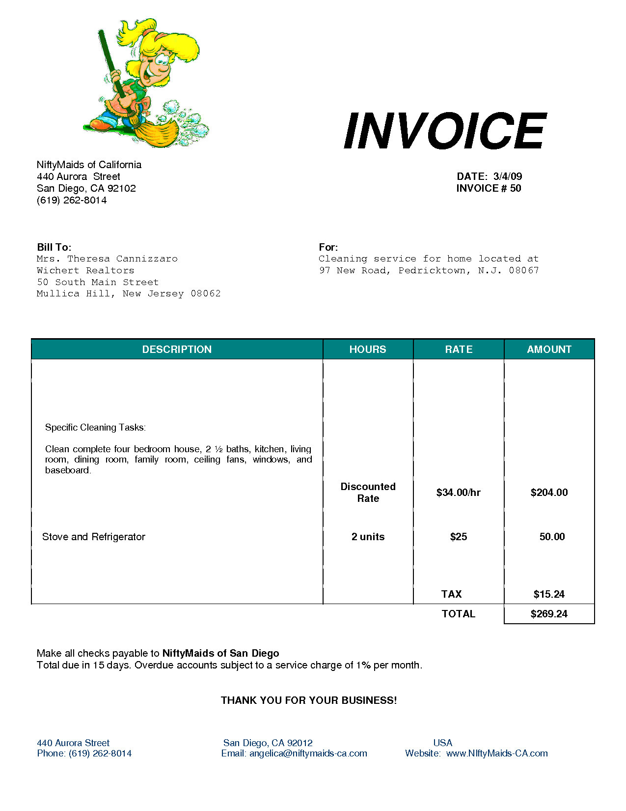House Cleaning Invoice Example Invoice Template For Cleaning Within House Cleaning Service Invoice