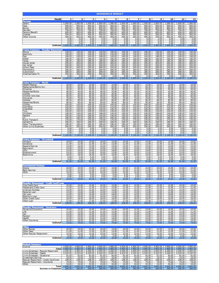 Household Budget | Excel Templates Intended For Spreadsheet For Household Budget