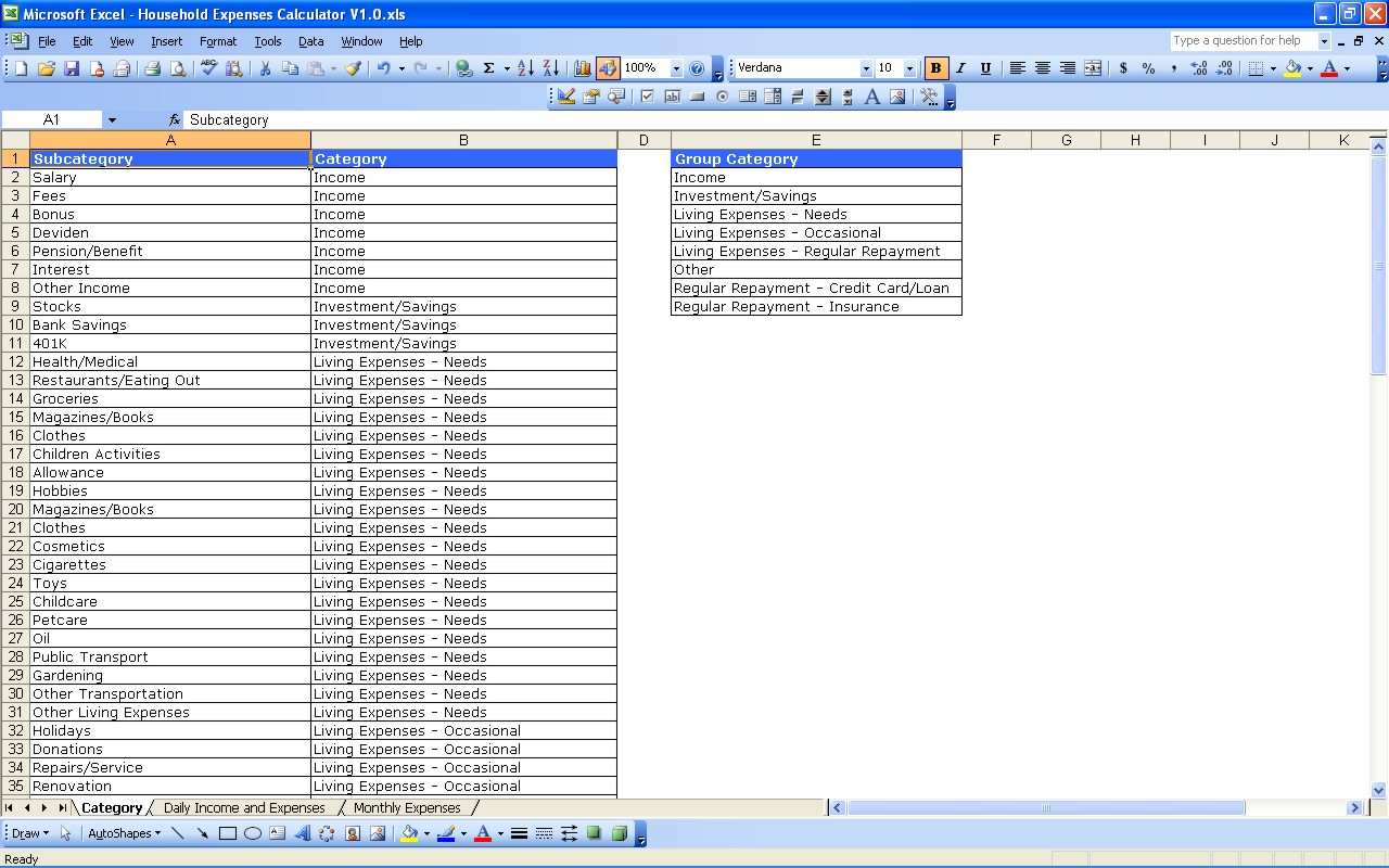 Household Expenses   Excel Templates To Home Accounting Spreadsheet For Excel