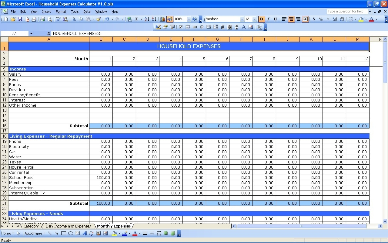 Household Expenses | Excel Templates Together With Home Expenses For Home Accounting Spreadsheet Templates