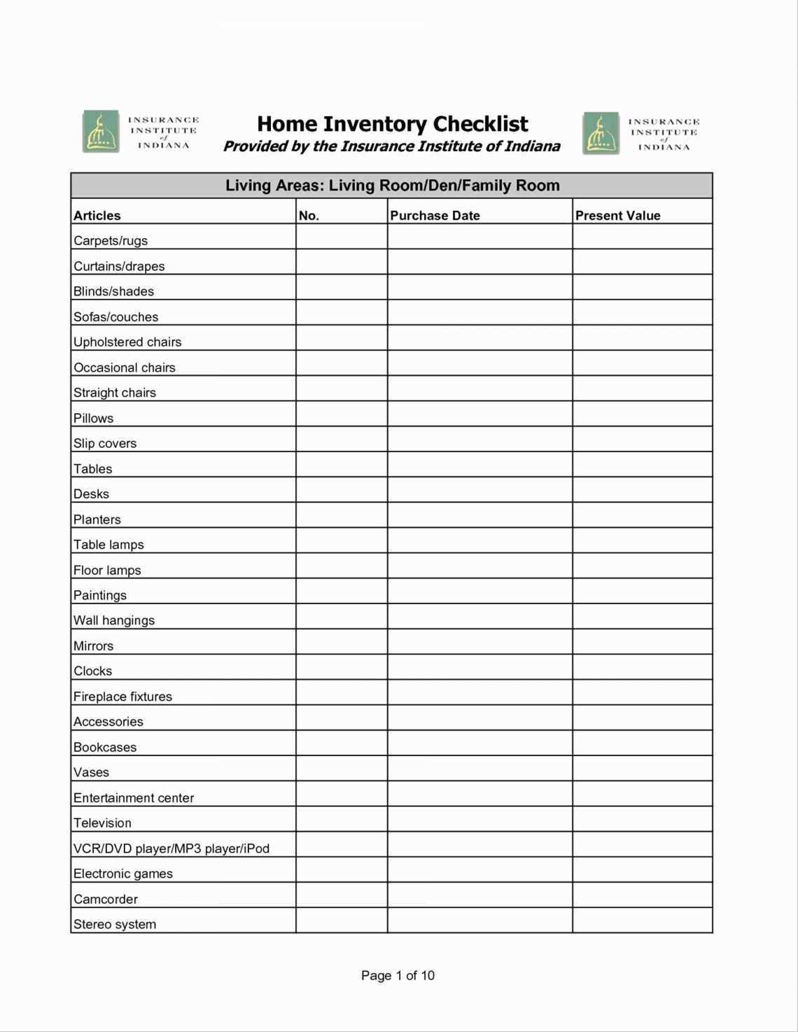 Household Inventory Sheet Free Printables | Www.topsimages Within Household Inventory Spreadsheet