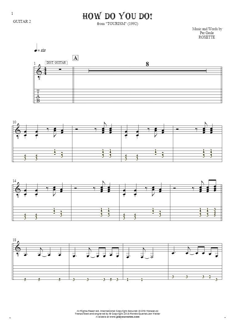 How Do You Do!   Notes And Tablature For Guitar   Guitar 2 Part For How Do You Do A Spreadsheet