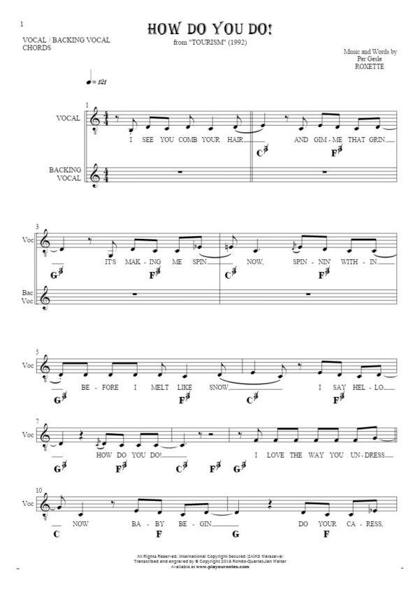 How Do You Do!   Notes, Lyrics And Chords For Vocal With Inside How Do You Do A Spreadsheet