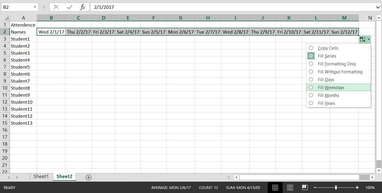 How To Create A Basic Attendance Sheet In Excel « Microsoft Office For Example Of A Spreadsheet With Excel