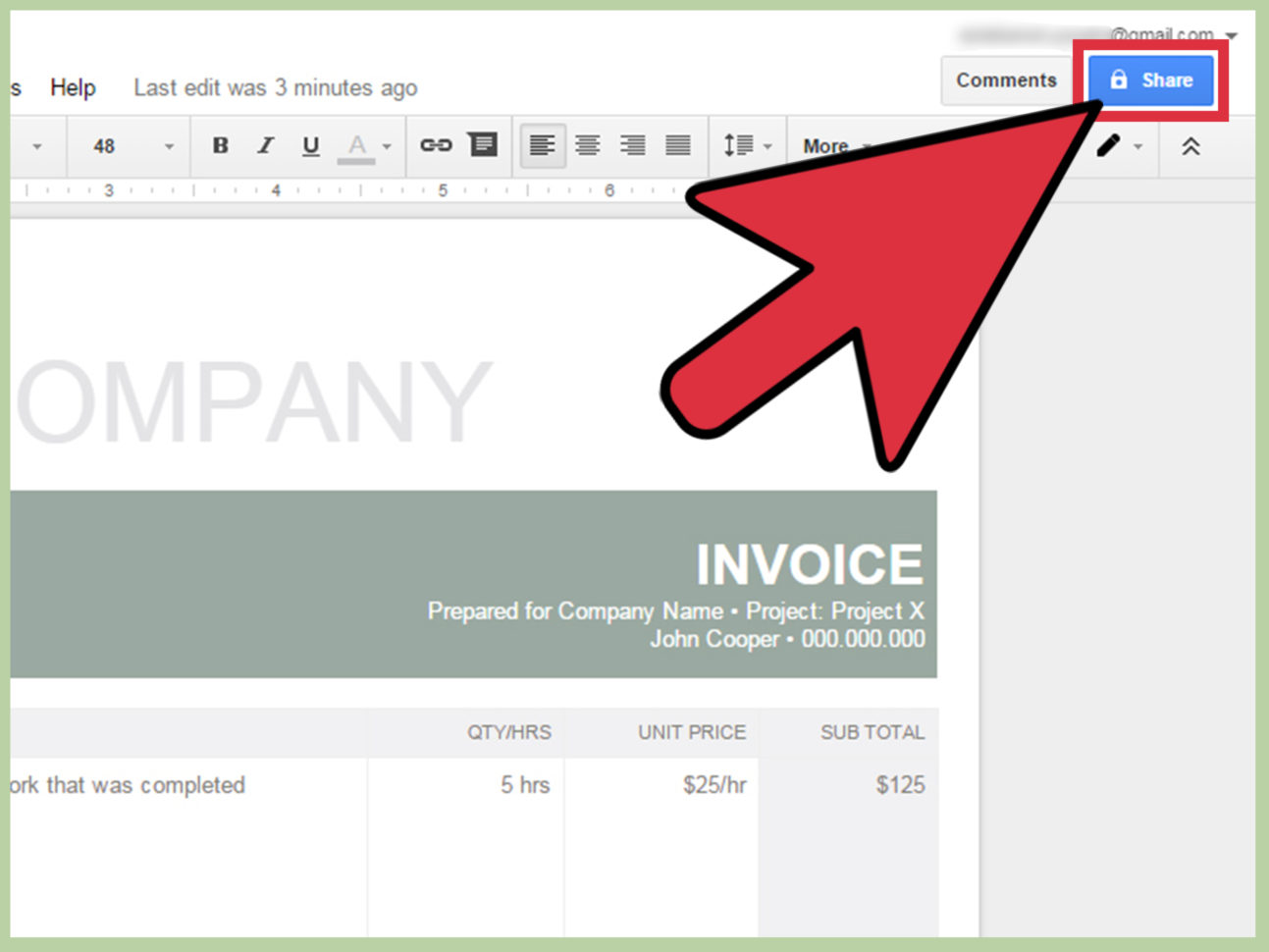 How To Make An Invoice In Google Docs: 8 Steps (With Pictures) In Invoice Template Google Docs
