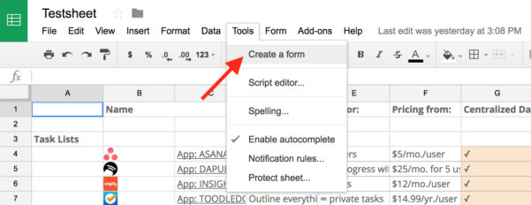 How To Make Google Spreadsheet Form On Spreadsheet App Microsoft With App For Spreadsheet