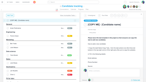 How To Track Candidates In Asana | Product Guide · Asana Intended For Candidate Tracking Spreadsheet