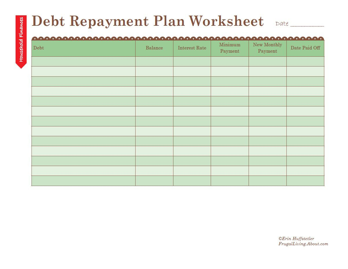 How To Use A Debt Repayment Plan Worksheet With Get Out Of Debt Budget Spreadsheet