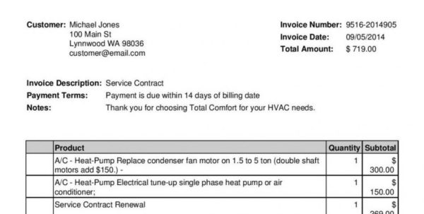 Hvac Invoice Template 791×1024 0   Networkuk For Hvac Invoice Template