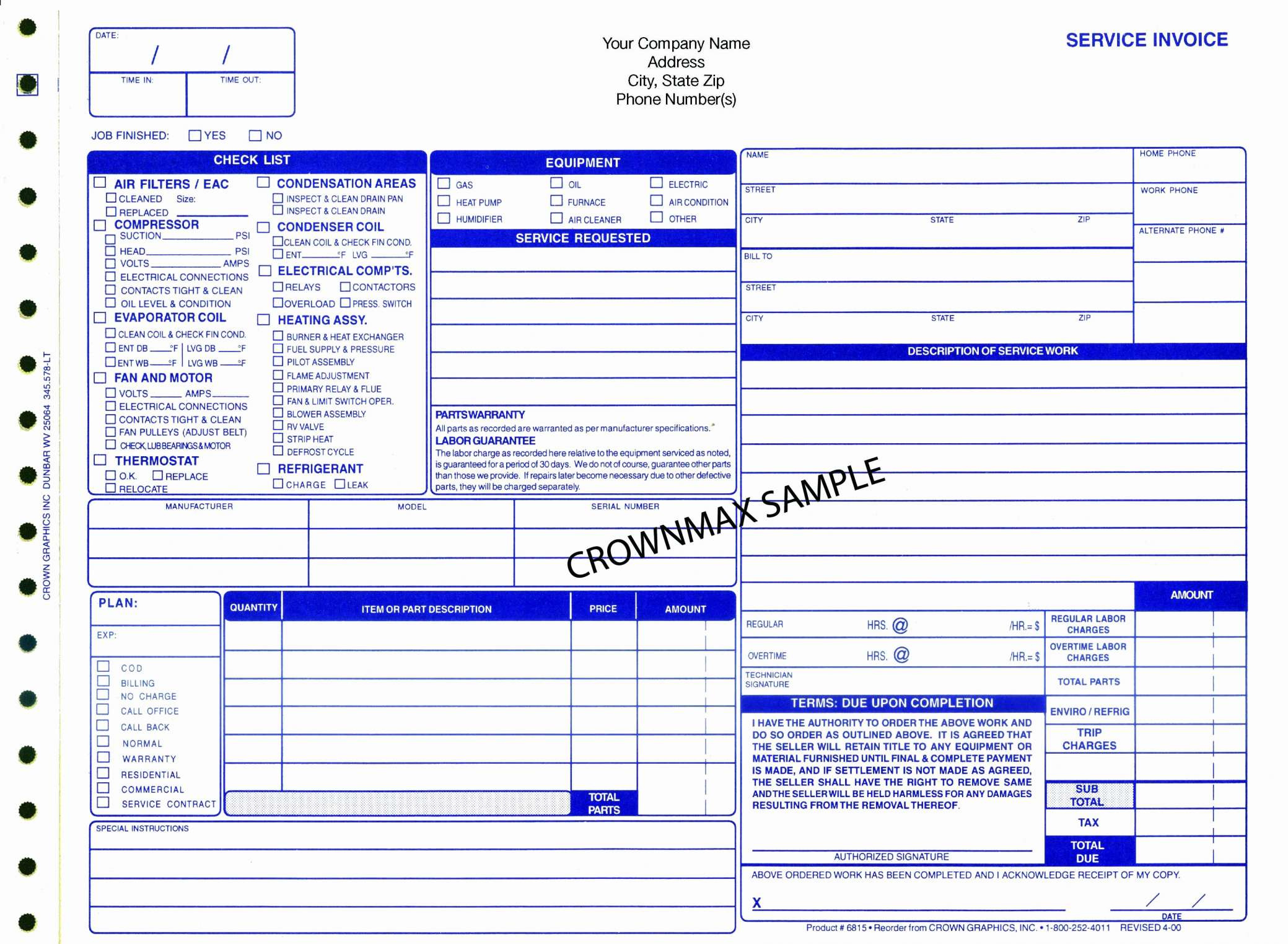 Hvac Invoice Template – Spreadsheet Collections To Hvac Invoice Template