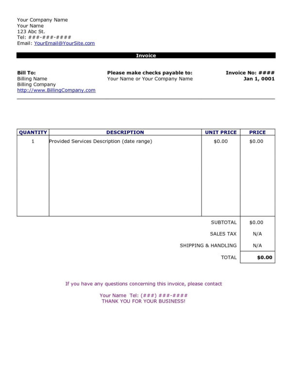 Hvac Invoice Template | Templaterecords Intended For Hvac Invoice Template
