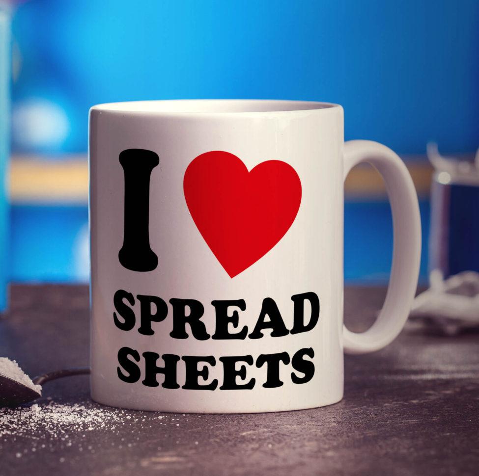 I Heart Spreadsheets Mug   Printster And I Heart Spreadsheets Mug