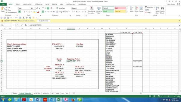 Ifta Software | Baratta Enterprises :: 562.437.4447 Inside Ifta Spreadsheet