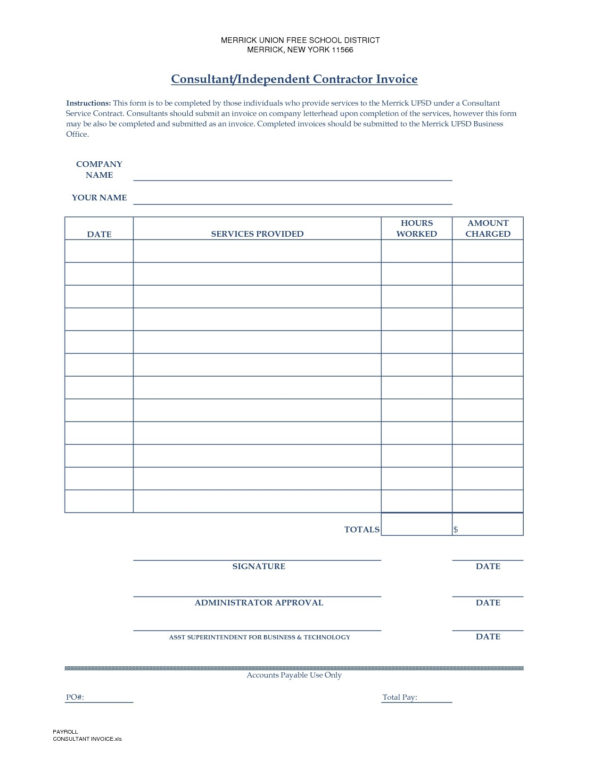 Independent Contractor Invoice Template | Free Printable Invoice For Independent Contractor Invoice Sample