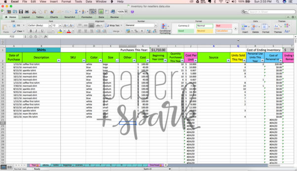 Inventory For Resellers Spreadsheet   Paper   Spark With Spreadsheet Inventory