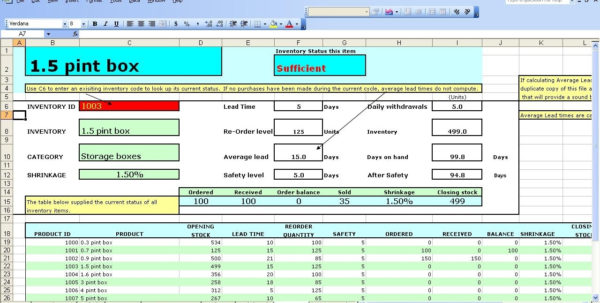 Inventory Management And Scheduling For Excel With Stock Management Throughout Excel Spreadsheet For Inventory Management