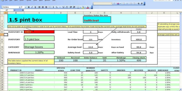 Inventory Management Excel Formulas – Sosfuer Spreadsheet With Inventory Management Excel Format Free Download